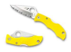 Spyderco Ladybug 2 Salt Lockback Knife Yellow FRN Serrated H-1 LYLS3