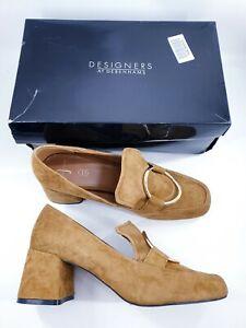 Jasper Conran size 7 (40) tan brown suede block heel court shoes loafers