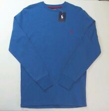 Polo Ralph Lauren Men's Waffle Knit Pajama Lounge Shirt Small 28-30 Blue Red New
