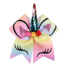 "3D Multi Colour Unicorn Sequin & Glitter Cheerleading Cheer Dance Bow. Large 7"""