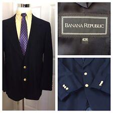 Banana Republic Mens 42R Blazer 100% Wool Jacket Gold Buttons Navy Blue USA