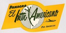 PAN AMERICAN  PANAGRA EL INTER AMERICANO AIRLINES LUGGAGE LABEL