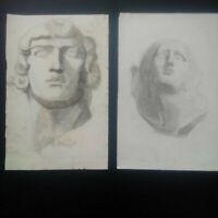 Dessins fusain grand format portraits à l'antique visage homme et femme