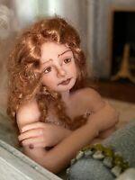 Vintage Miniature Dollhouse ARTISAN Sculpted Beautiful Blonde Woman Curly Hair