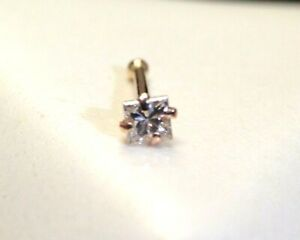 Sparkly! .10CT 2.5mm Princess Cut Natural Diamond 14K Rose Gold Nose Ring Stud
