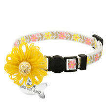 Floral Personalised Cat Breakaway Collar with ID Tag Quick Safety Release Buckle