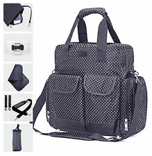 Allis Changing Bag Multi Ways Baby Nappy Diaper Bag Backpack PVC FREE - Navy