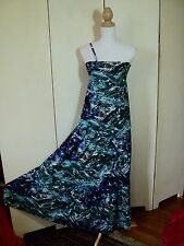 morrissey dye dye stretch maxi dress  worn once only. tiered  blue hippie*