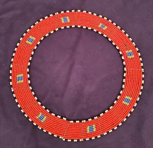 """African Handmade Beaded Red Ethnic Tribal Round Necklace 10"""""""