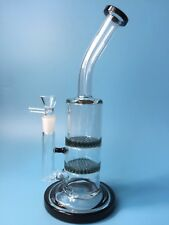 Black Glass Bong Water Bongs Two Honey Comb Perk Water Smoking pipes hookahs