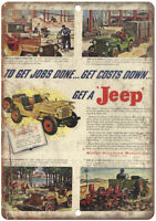 "Jeep Willys Overland Auto Moror Ad 10"" X 7"" Reproduction Metal Sign A941"