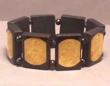 Christian Bracelet JESUS GOLD FOIL IMAGE Wood Bead Stretch BLACK Low Stock! Wow!