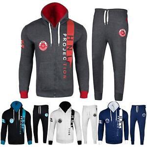 Mens Fashion Full Tracksuit HNL Print Hooded Fleece Zipped Top & Jogging Bottoms