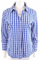 JAEGER Womens Shirt 3/4 Sleeve Size 14 Large Blue Check Cotton  JF06