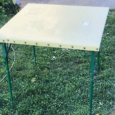 Antique Primitive  Oil Cloth Wood Leg Frame Folding Game Hobby Card Table 1930's