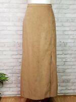 Cotton Patch size 8 suede look maxi skirt caramel brown brushed twill front slit