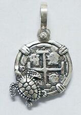 ATOCHA Coin Turtle Pendant 925 Sterling Silver Sunken Treasure Jewelry