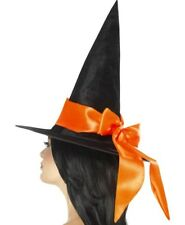 Halloween Fancy Dress Ladies Witch Hat Black with Orange Bow New by Smiffys
