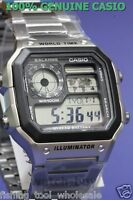 AE-1200WHD-1A Silver Men's Casio Watches 10-Year Battery World Time Sports Alarm