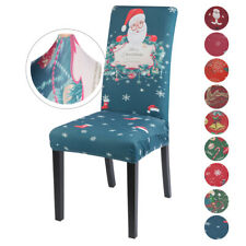 Stretch Spendex Dining Chair Cover Christmas  Santa Table Decor Seat Slipcovers