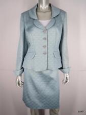 KAY UNGER 14 Light Blue Gold Silk Blend Crystal Sexy Evening Suit Jacket Skirt L