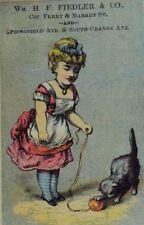 Wm. H.F Fiedler & Co Seal Fur Newark, NJ Cute Girl Pet Cat Ball-Toy P41