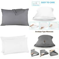 400tc Housewife Pillow Cases 100%Egyptian Cotton Bed Pillowcase Cover White Grey