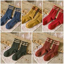 Women Striped Style Cashmere Knitted Woolen Thick Winter Warm Socks Long Socks