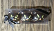 3 Pk. Cat Shaped Floating Candles New in box Black Cats w/Green Eyes