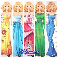 MERMAID Ariel 2 Paper Dolls Developing Book Fairy Tale Queen Princess Fantasy