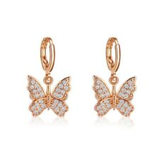 Gold, Silver Plated Shiny Butterfly Pendant Hoop Earrings Gift UK