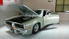 G LGB 1:24 1:25 Scale Dodge Charger R/T 1969 Maisto Diecast Model Car Blue/Gold