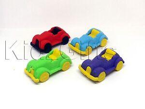 4 Car Shaped Rubber ERASERS Novelty Party Loot Bag Favor Filler Fun Treat Reward
