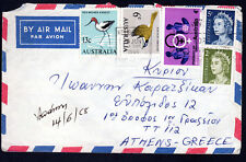1968 30c Rate Australia Air Mail Cover to QEII Birds Obstetrics ATHENS GREECE