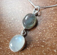 Labradorite and Moonstone 925 Sterling Silver Pendant Corona Sun Jewelry u149aw