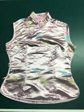 Ladies elegant Chinese sleeveless top in soft pinks. Size small