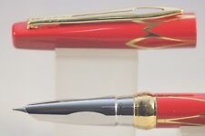 New Luxury Hero No. 3019 Fine Fountain Pen, Red Lacquer with Gold Inlayed Trim