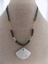 Jasper Fan Pendant with Serpentine Vessonite Round Beads Necklace