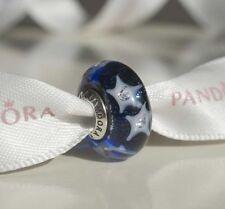 Authentic Pandora Silver Starry Night Sky Clear CZ Murano Bead 791662CZ w/ Pouch