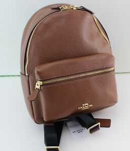 NEW AUTHENTIC COACH CHARLIE MEDIUM BROWN LEATHER BACKPACK HANDBAG WOMEN'S F28995