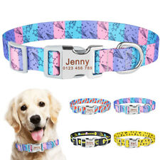 Personalised Nylon Dog Collar Engraved Name ID Tag Boy Girl Dog Collar Soft