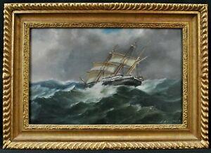 ANTONIO DE SIMONE (1851-1907) ITALIAN SEASCAPE ANTIQUE SHIP OIL CANVAS PAINTING