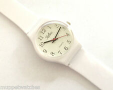 LADIES ANTI ALLERGY ALL PLASTIC ANALOGUE WHITE LARGE CLEAR FACE WATCH by Reflex