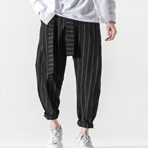 Mens Linen Striped Pants Chinese Kung Fu Tai Chi Trousers Training Wushu Casual