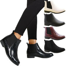 Womens Work Flats Block Heels Girls School Shoes Ladies Chelsea Ankle Boots Size
