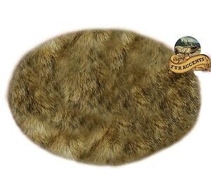 Round Shag Rug Light Alpine Wolf Faux Fur Round Area Rug Light Brown Tones Shag