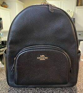 Authentic Coach Black Leather Court Backpack Item #5666 Black Backpack