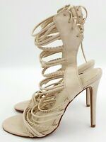 BOOHOO Plaited Strappy Lace Up Heels Ladies Size 8