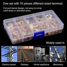 70pcs 10A 20A 30A 40A 50A OT Cable Wire Terminal Connector Copper Lugs w/ Box EW