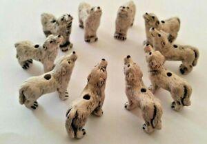 Peruvian Ceramic White Wolf Animal Lot of 10 Focal Beads Bulk DIY Charm